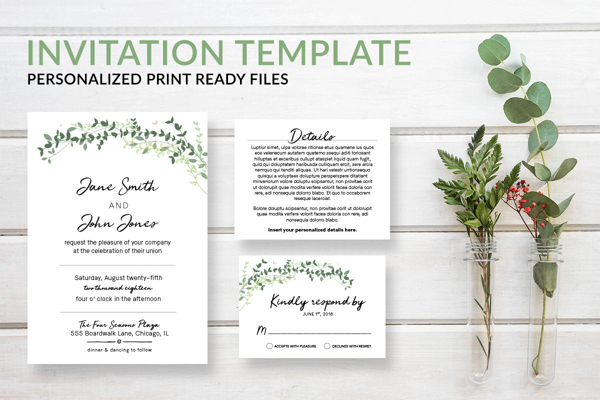 Rustic Eucalyptus Greenery Wedding Invitation Template - DesignsbyZal