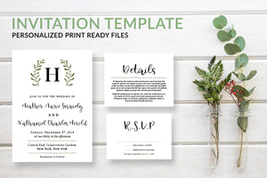 Rustic Monogram Wreath Wedding Invitation Template - DesignsbyZal
