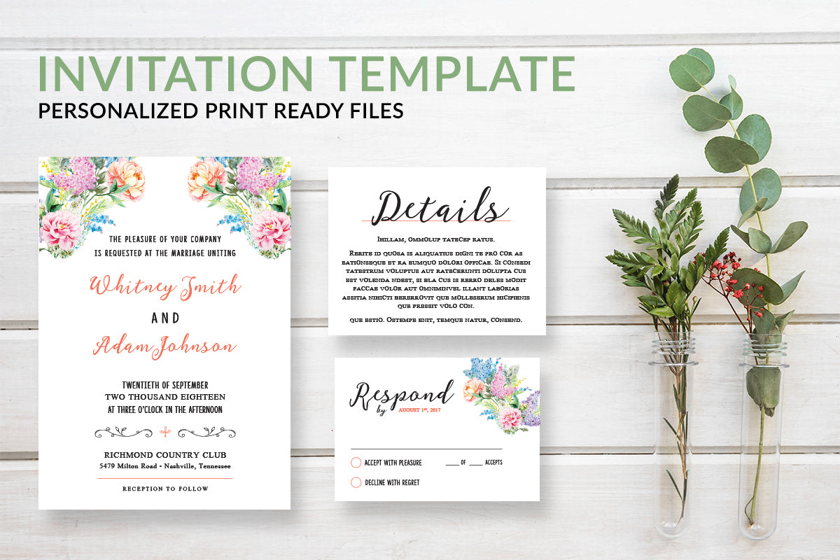 Floral Bohemian Wedding Invitation Template - DesignsbyZal