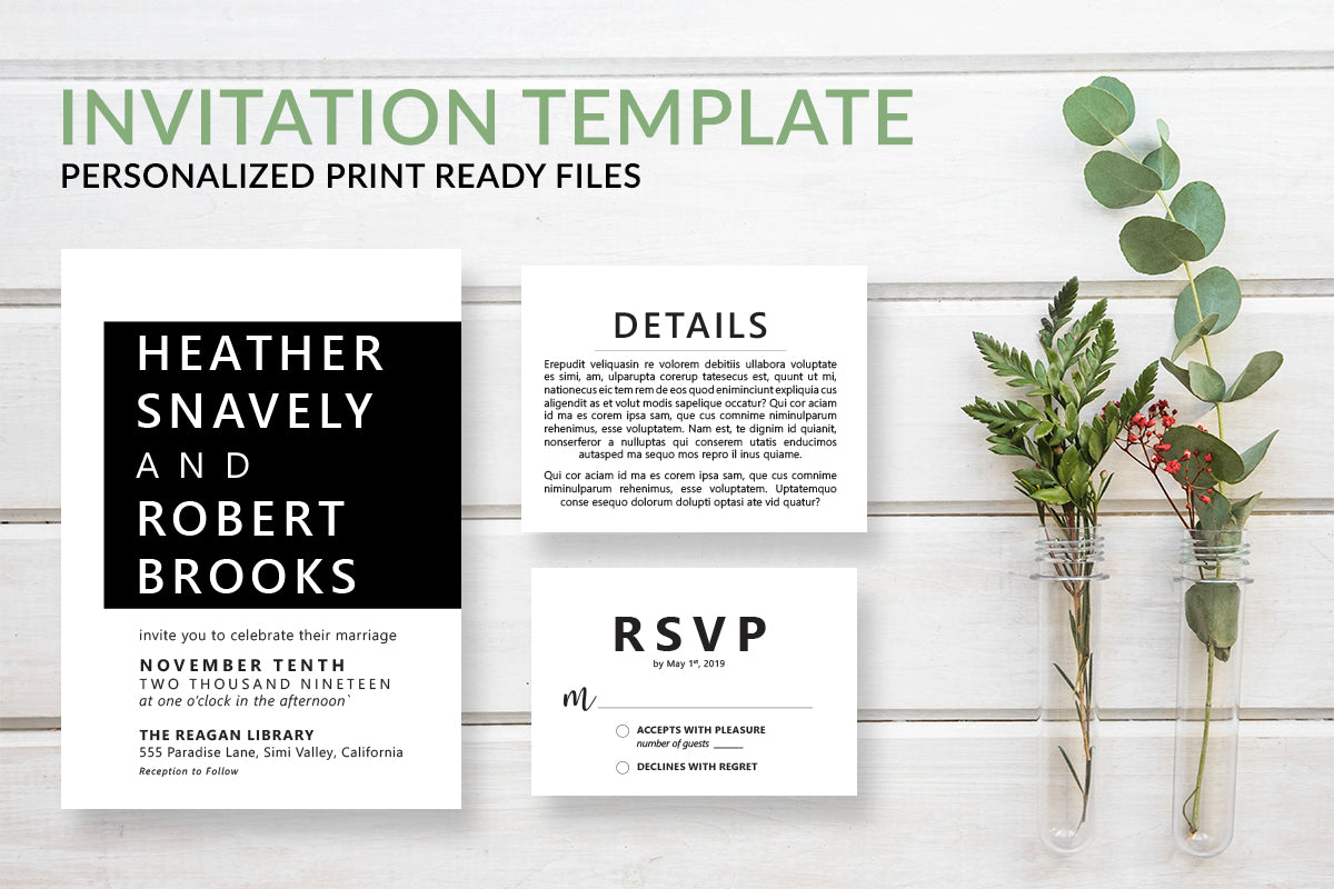 Modern Wedding Invitation Template - DesignsbyZal