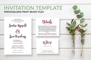 Simple Script Wedding Invitation Template - DesignsbyZal