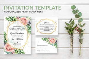 Blush Pink Floral Geometric Wedding Invitation Template