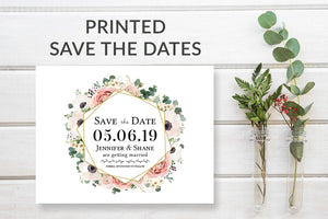 Pink & Gold Floral Boho Save the Date Card