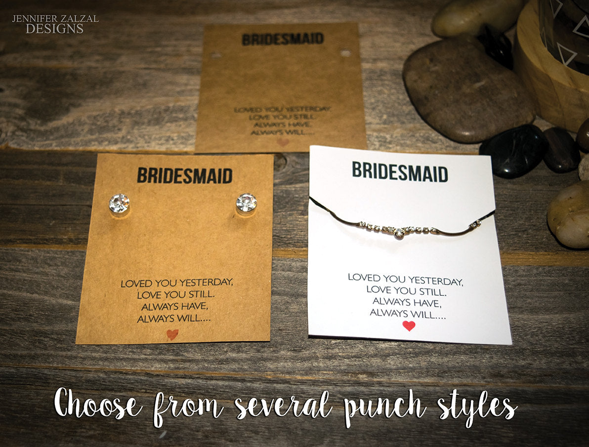 Bridesmaid Jewelry Necklace Cards | Wedding Necklace Display Card | Jewelry Display Card for Necklaces & Earrings | Bridesmaid Gifts - DesignsbyZal