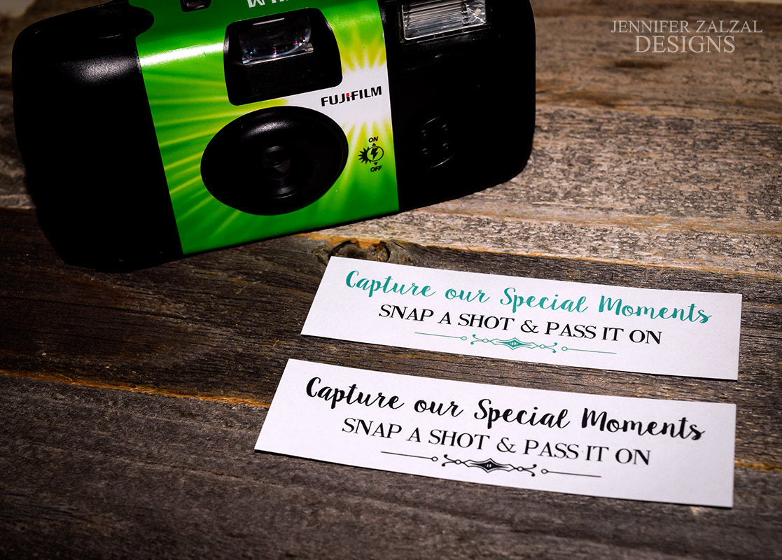 Disposable Event Camera Labels | Color Options Available - DesignsbyZal