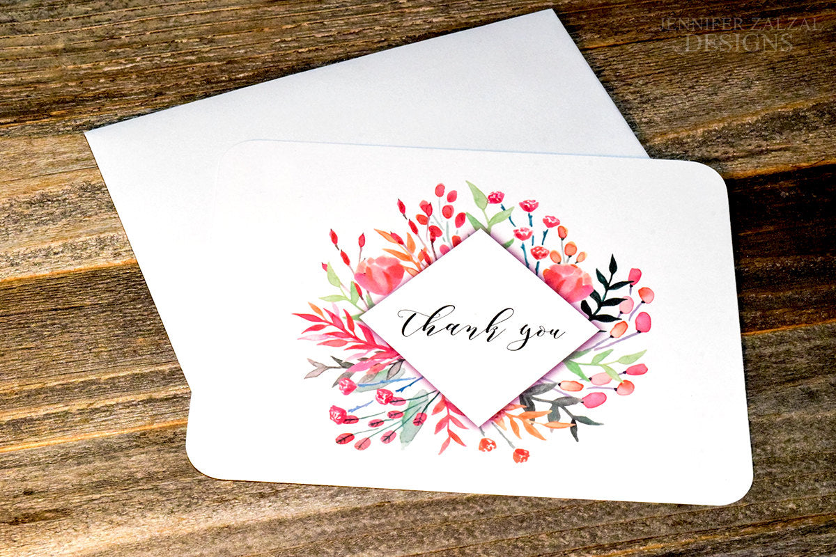 Floral Thank You Notecard Set. Rustic Thank You Notecards. Greenery Thank You Notecard Set. Wedding Notecard. Rustic Note Cards. - DesignsbyZal