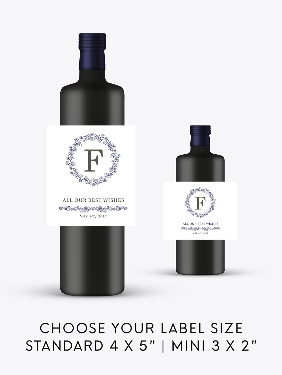 Rustic Monogram Wedding Wine Bottle  Labels | Standard & Mini Sizes Available - DesignsbyZal