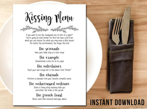 Wedding Kissing Menu Printable | Wedding Games Digital Download - DesignsbyZal