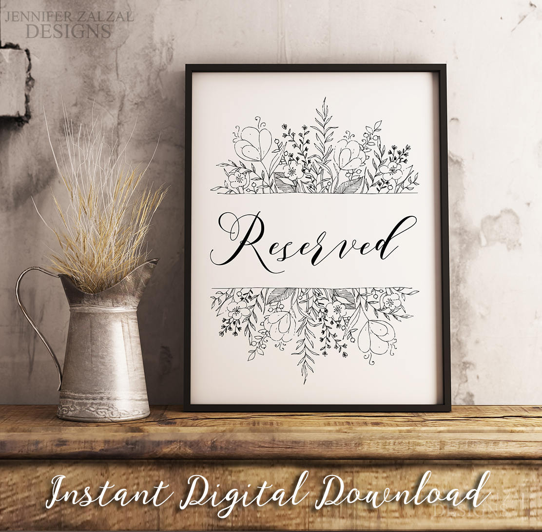 Rustic Reserved Sign | Wedding Signs | Digital Download | Instant Download - DesignsbyZal