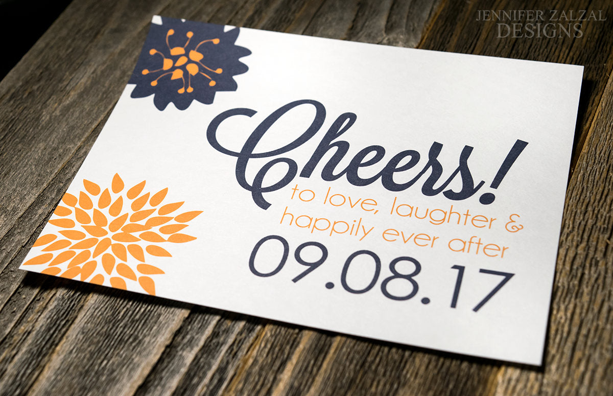 Cheers to Happily Ever After Wedding Wine Bottle Labels | Personalized & Printed - DesignsbyZal