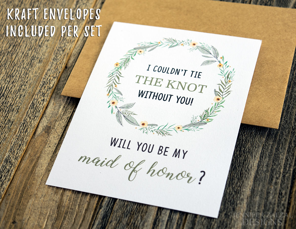 Greenery Wreath Bridal Party Proposal Card | Personalized Wedding Cards - DesignsbyZal