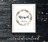 Rustic Reserved Sign | Digital Download | Wedding Signs - 3 Styles - DesignsbyZal
