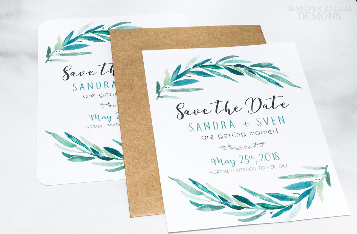 Rustic Greenery Wreath Save the Date Cards - DesignsbyZal