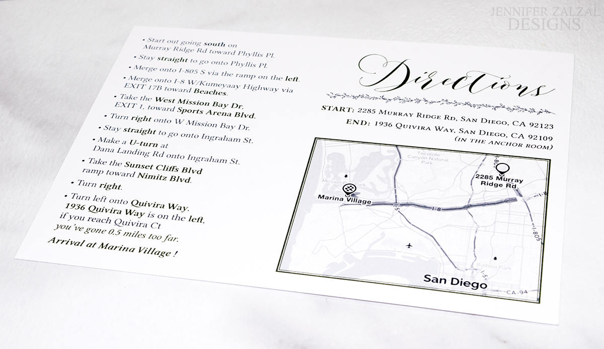 Custom Map Card | Reception Directions | Personalized & Printed - DesignsbyZal