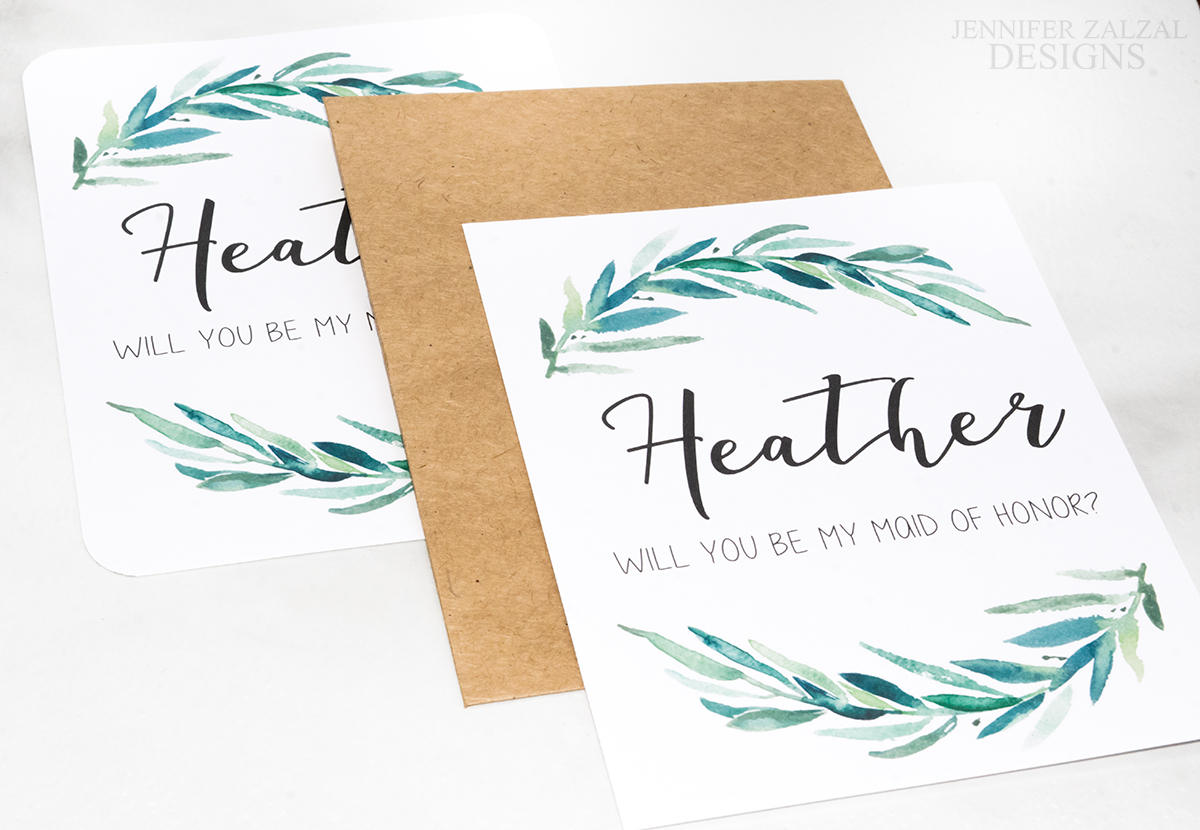 Rustic Wreath Bridal Party Proposal Card | Personalized Wedding Cards - DesignsbyZal