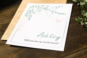 Eucalyptus Greenery Bridal Party Proposal Card | Personalized Wedding Cards - DesignsbyZal
