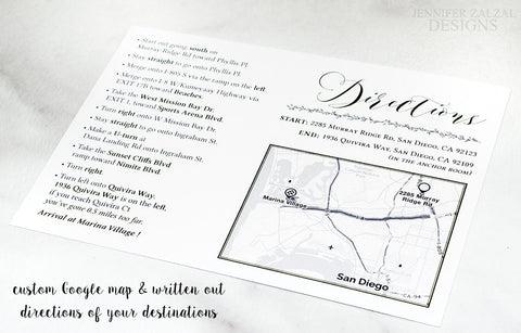 Custom Map Card | Reception Directions | Personalized - DesignsbyZal