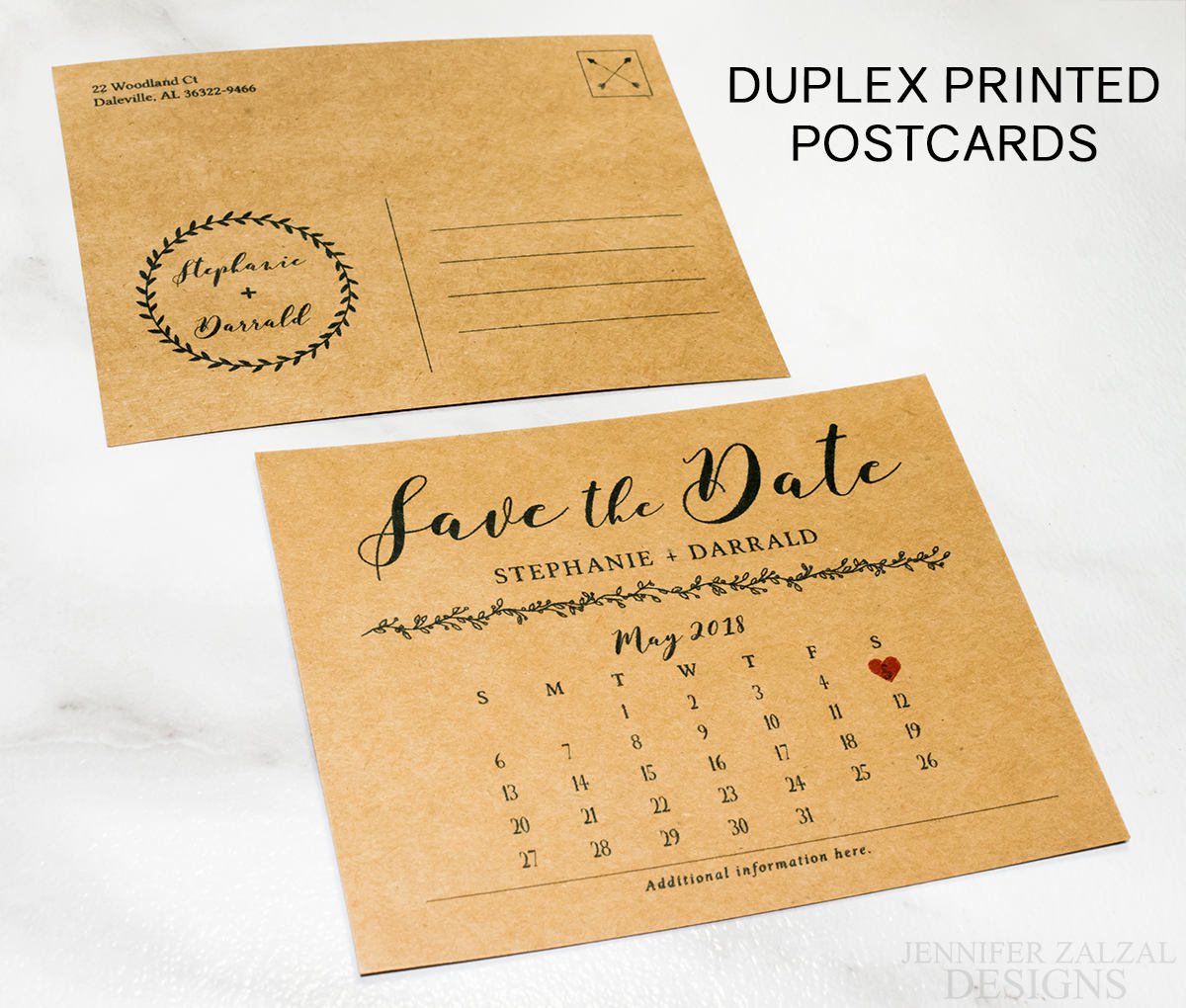 Rustic Save the Date Calendar Postcard Announcement - DesignsbyZal