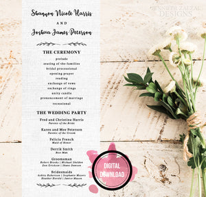 Simple Rustic Wedding Ceremony Programs | Personalized Printable File - DesignsbyZal