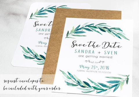 Rustic Wreath Save the Date Card for Weddings - DesignsbyZal