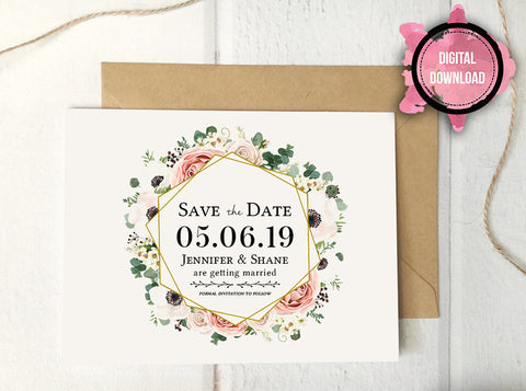 Boho Floral Save the Date Card Template | Custom PDF File - DesignsbyZal
