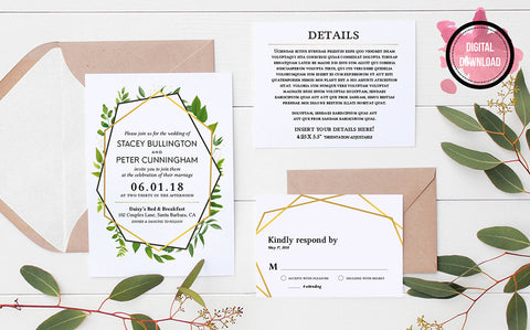 Geometric Greenery Wedding Invitation Template | Personalized PDF File - DesignsbyZal