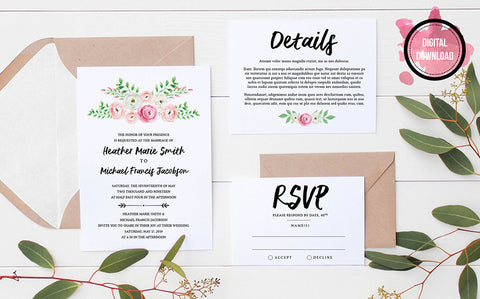 Pink Floral Wedding Invitation Template | Personalized PDF File - DesignsbyZal