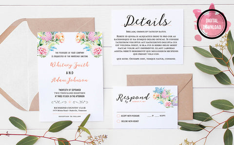 Floral Boho Wedding Invitation Template | Personalized PDF File - DesignsbyZal