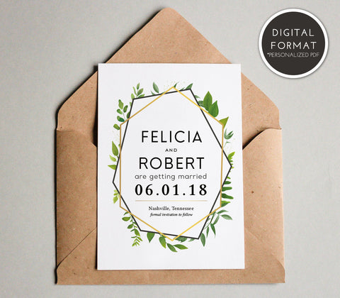 Gold Geometric Greenery Save the Date Template | Custom PDF File - DesignsbyZal