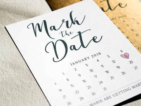 Mark the Date Wedding Date Calendar Cards - DesignsbyZal
