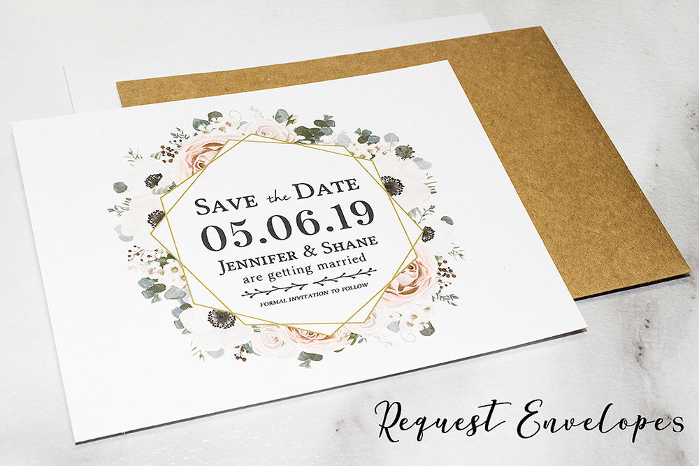 Pink & Gold Floral Boho Save the Date Card - DesignsbyZal