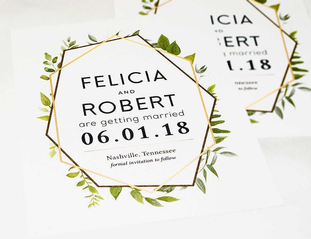 Gold Geometric Eucalyptus Greenery Save the Date Template - DesignsbyZal