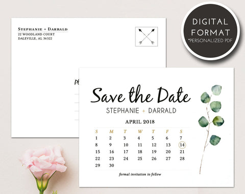 Rustic Greenery Save the Date Postcard Template | Custom PDF File - DesignsbyZal