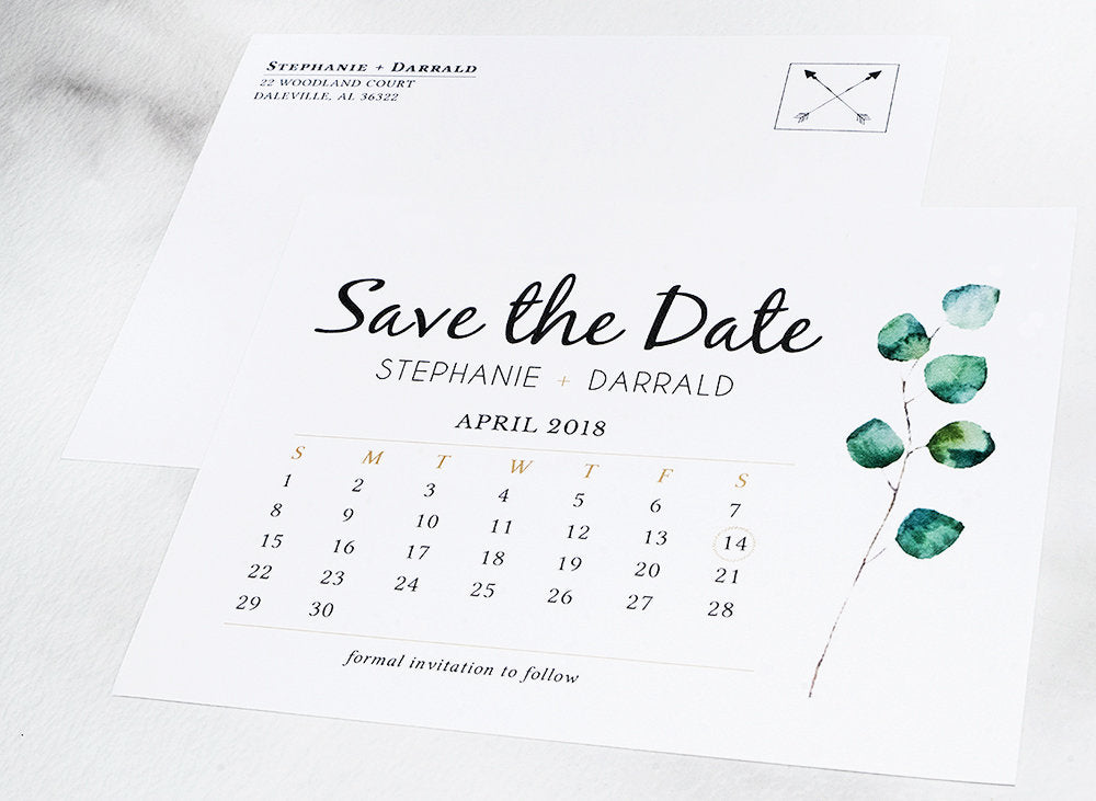 Eucalyptus Greenery Save the Date Postcard - DesignsbyZal