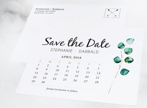 Greenery Rustic Save the Date Wedding Postcard Announcement - DesignsbyZal