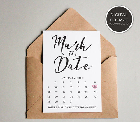 Simple Mark the Date Card Template | Custom PDF File - DesignsbyZal