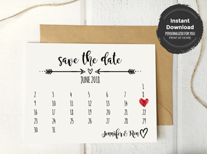 Rustic Save the Date Calendar Card Template