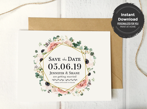 Boho Floral Save the Date Card Template