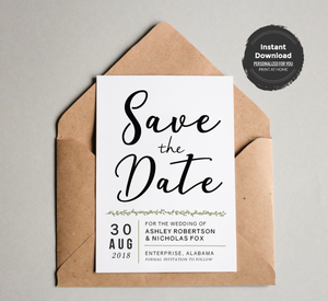Simple Modern Save the Date Card Template