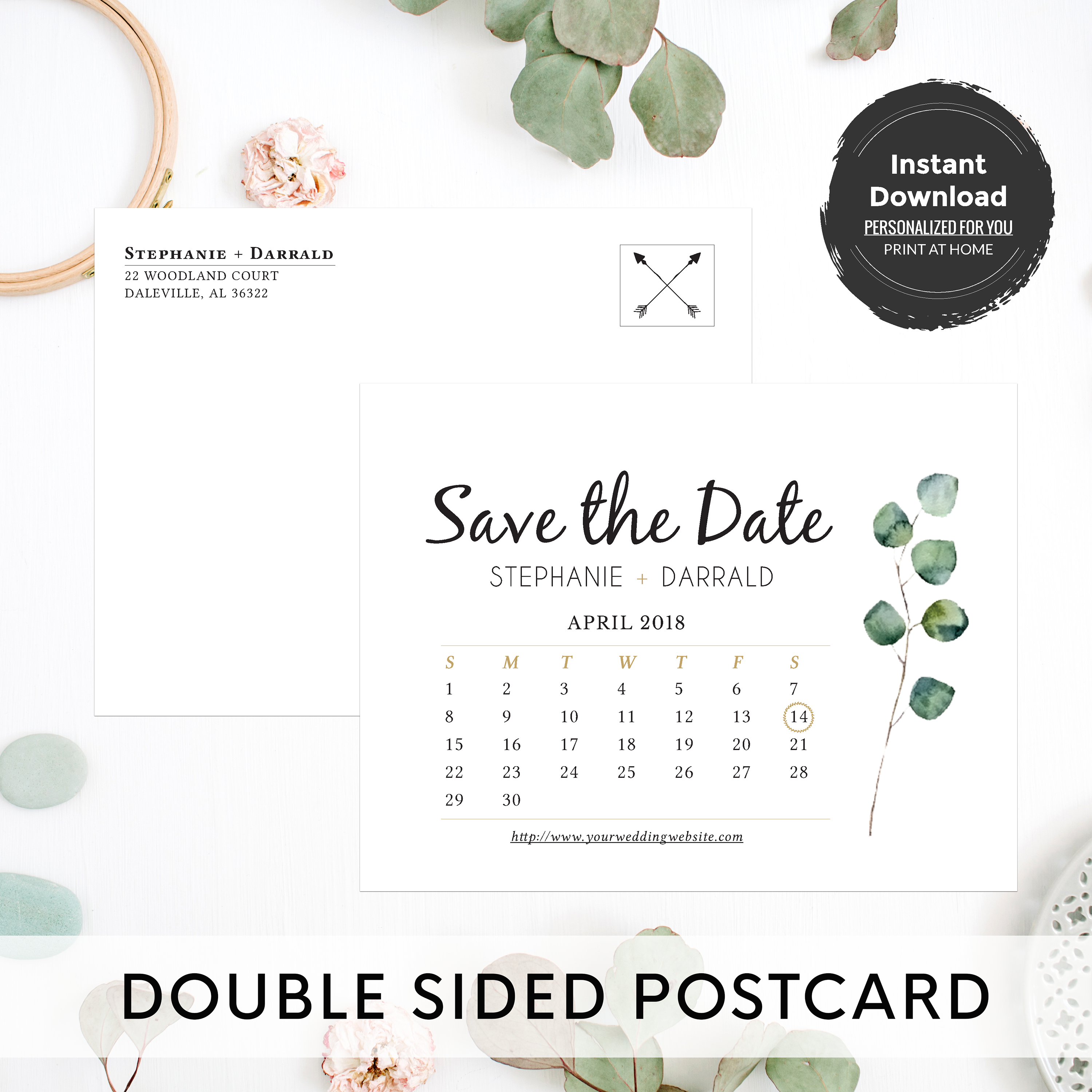 Rustic Eucalyptus Greenery Save the Date Postcard Template