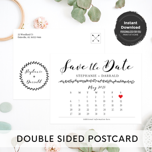 Rustic Save the Date Calendar Postcard Announcement Template