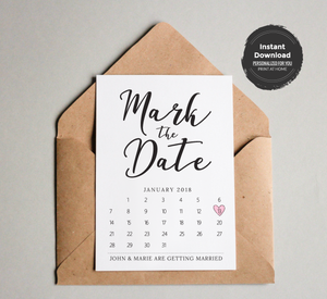 Mark the Date Calendar Card Template