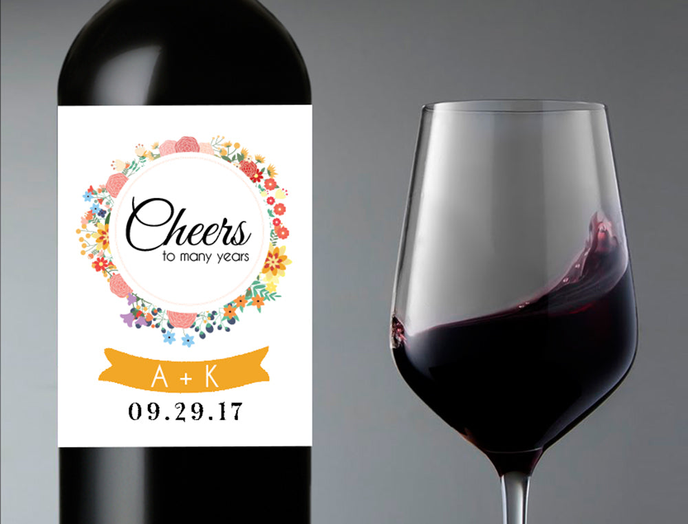 Cheers Wedding Wine Bottle Labels | Personalized & Printed - DesignsbyZal