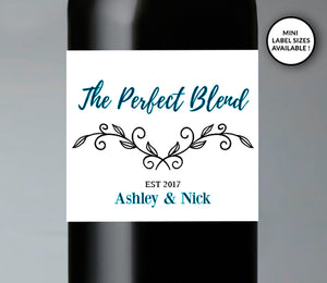 The Perfect Blend Wedding Wine Bottle Labels | Standard & Mini Sizes Available - DesignsbyZal