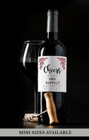 Cheers Wedding Wine Bottle Labels | Standard & Mini Sizes Available