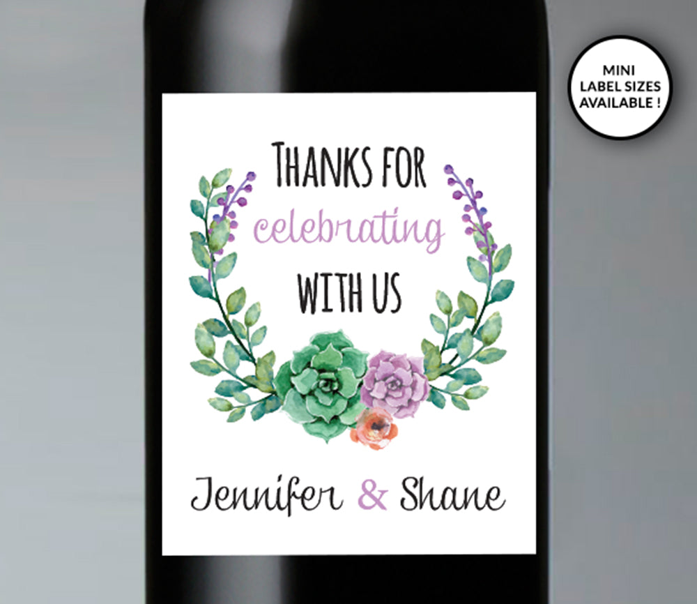Thank You for Celebrating Wedding Wine Bottle Labels | Standard & Mini Sizes Available - DesignsbyZal