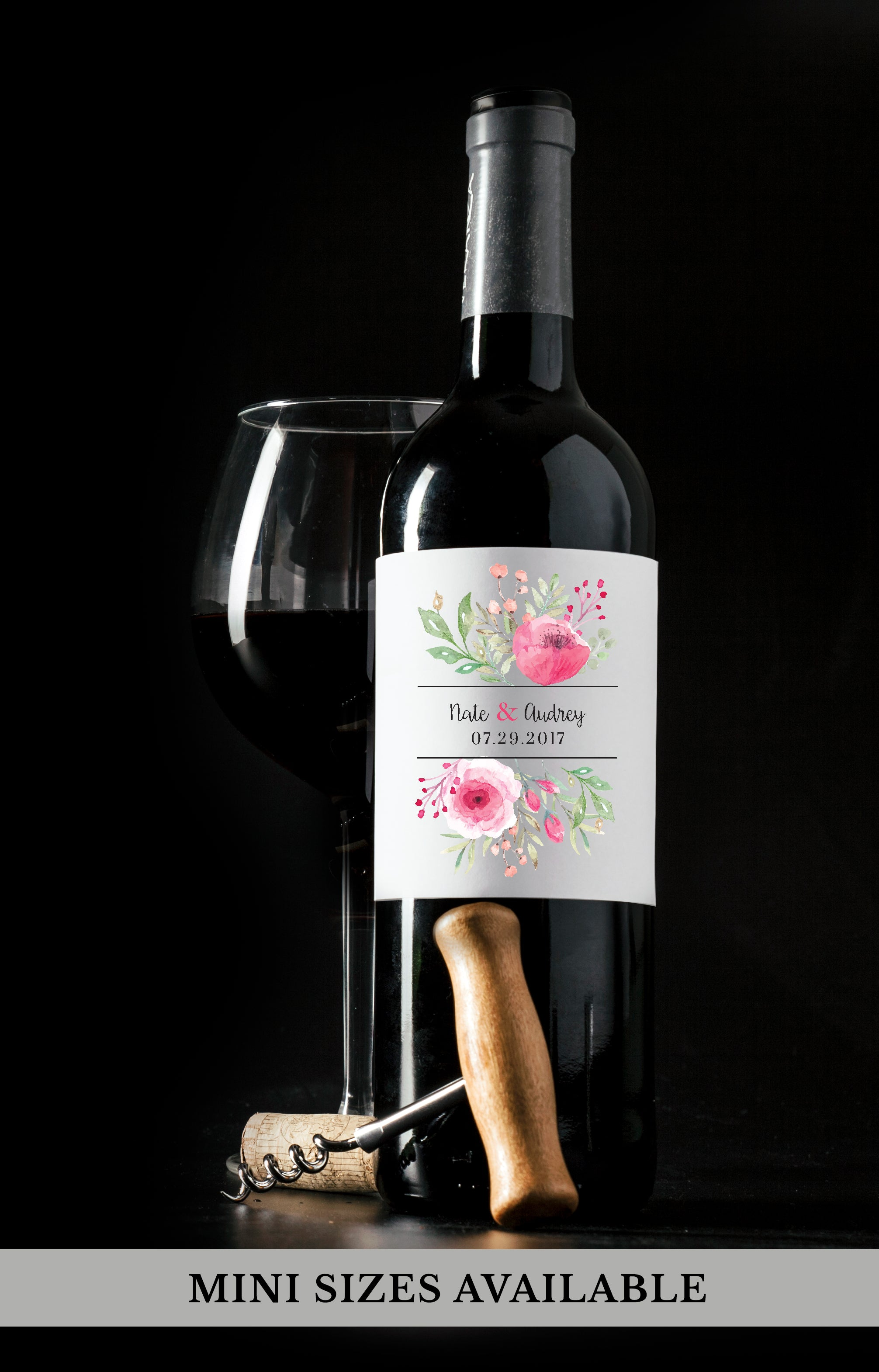 Floral Wedding Wine Bottle Labels | Standard & Mini Sizes Available