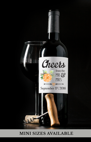 Cheers Wedding Wine Labels | Standard & Mini Personalized Wine Bottle Labels