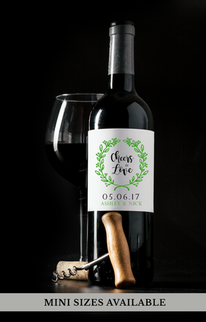 Cheers to Love Wedding Wine Bottle Labels | Standard & Mini Sizes Available