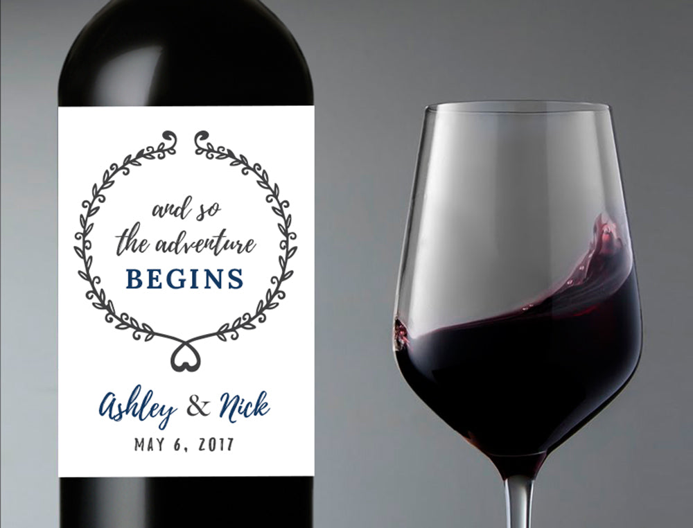 Adventure Begins Wedding Wine Bottle Labels | Personalized & Printed - DesignsbyZal